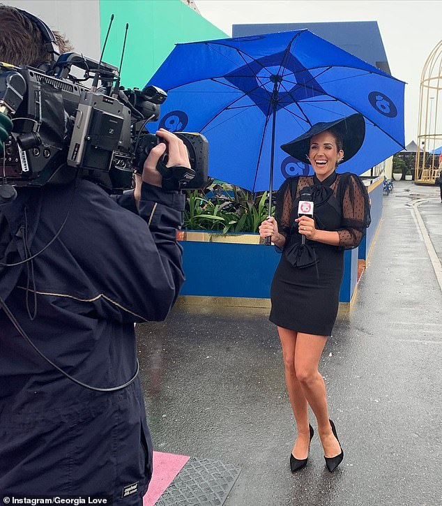 Axed: They said in a statement: 'During her time with Network 10, Georgia Love made a valuable contribution as a freelance reporter. As with any casual position, the availability of work ebbs and flows with the requirements of the company.' Pictured covering Derby Day in October
