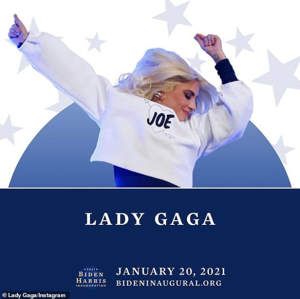 National Anthem Choir: Other celeb speakers / performers include Lady Gaga (pictured), Bruce Springsteen, Foo Fighters, John Legend, Eva Longoria, Carey Washington, Tom Hanks, Justin Timbertech and Demi Lovato.