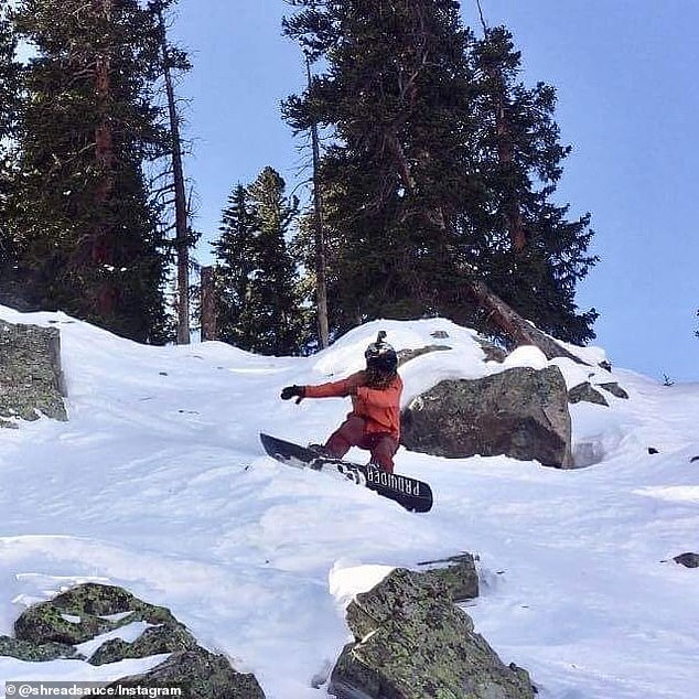 Snow cracks beneath backcountry snowboarder, Maurice Kervin, 25, who was caught in avalanche
