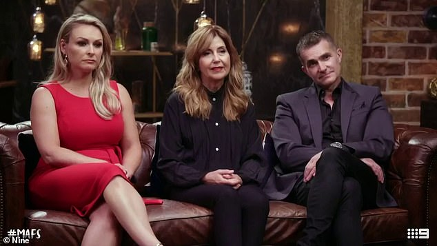 New recruit: Alessandra is replacing former Married At First Sight expert Dr Trisha Stratford (centre), who announced last year she was leaving the show after seven seasons.She will join Mel Schilling (left) and John Aiken (right) on the panel of experts in 2021