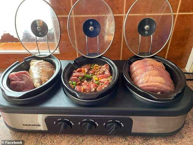 A mum has revealed how she slashes cooking time in her home by using a huge three-pot slow cooker