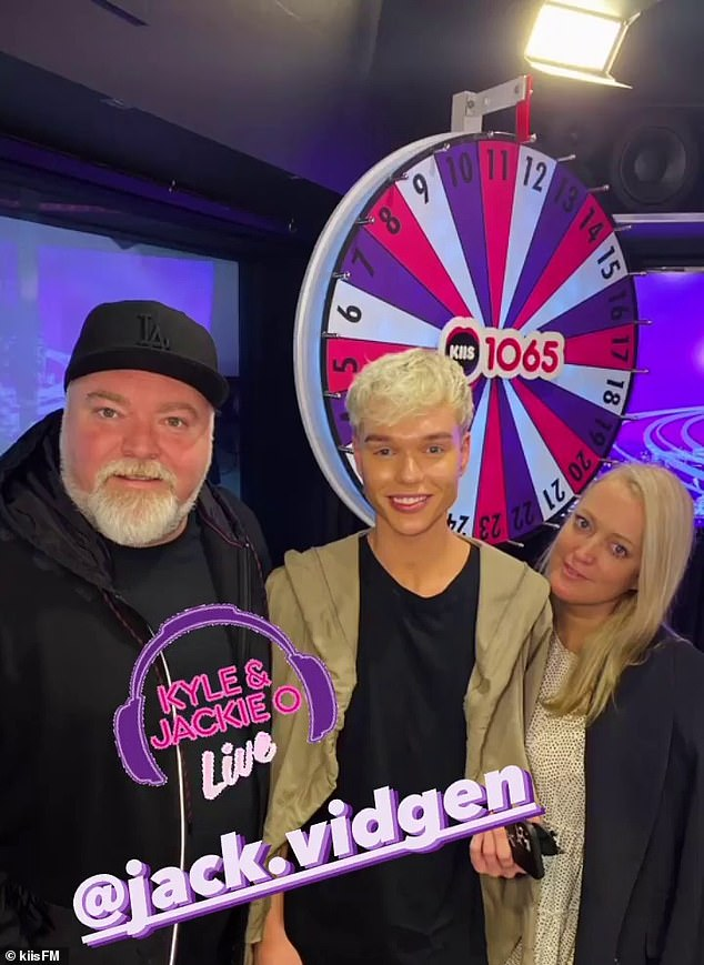 'She cried for a long time': I'm A Celebrity star Jack Vidgen (Pictured with KIIS FM'S Kyle Sandilands and Jackie 'O' Henderson) revealed that he broke the news he was gay to his then-girlfriend on their two-year anniversary