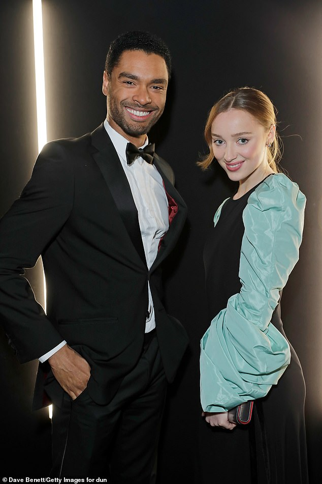 Onscreen lovers: Bridgerton's leading lady, Phoebe Dynevor, revealed she and Regé-Jean Page have remained in close communication since wrapping their popular period drama; seen in January 2020