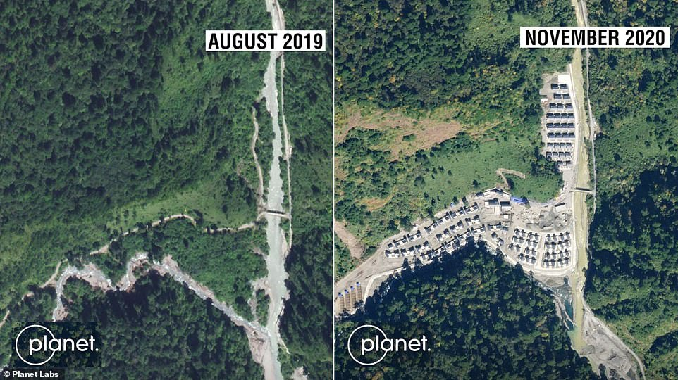 Similar images from August 2019 do not show any construction activity, meaning the village was built within the last year
