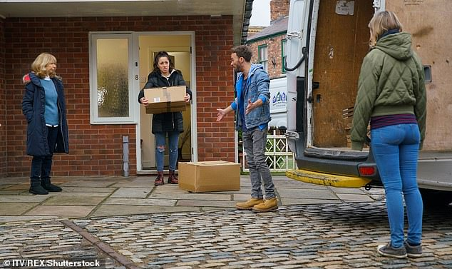 Sad send off: David Platt and his mother Gail bid farewell the street as they move out of their home in emotional scenes set to air on Monday's episode of Coronation Street