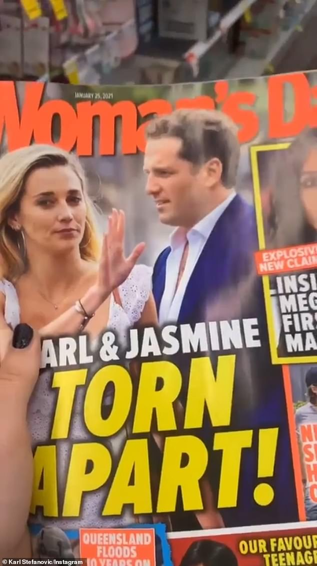 Torn: On Monday, the TV larrikin posted an Instagram Stories video of himself shopping, when a woman, believed to be Jasmine, approached him holding a magazine that had the couple on the cover .