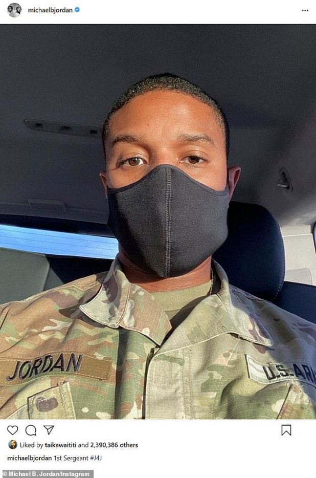 'First Sergeant # J4J': Washington has also worked hard under the direction of Michael B. Jordan (Figure 11 December) in his absent father drama journal Jordan for Sony Pictures