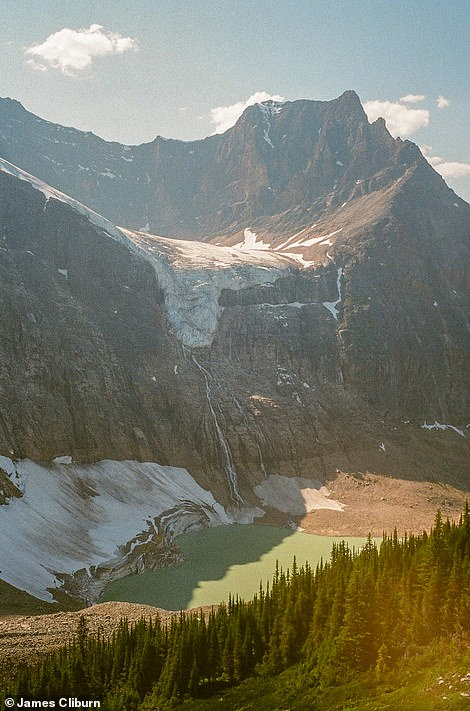"A shot of the remarkable Angel Glacier on the north face of Mount Edith Cavell in Jasper National Park, Alberta. 'The geographical marvel is named for the appearance of outstretched ""wings"" resembling those of an angel,' says Travel Alberta"