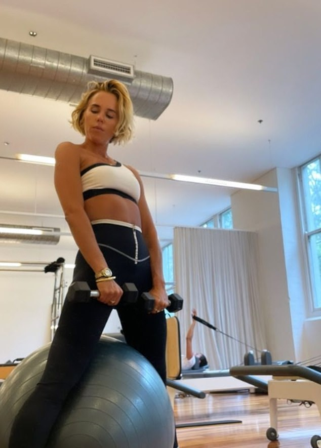 Working hard: The mother-of-one shared a number of pictures and videos on Instagram, saying that she wants to 'push herself harder than usual this week'