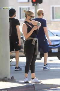 Abbie Cornish flaunts her trim figure in activewear as she steps out to run errands in Beverly Hills