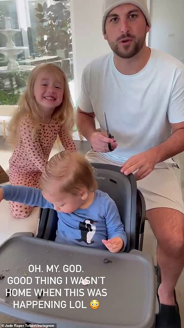 'Good thing I wasn't home!' On Monday morning, the Mommies Tell All podcaster returned to their San Juan Capistrano home to discover that Tanner had given their son Brooks a mullet haircut without consulting her