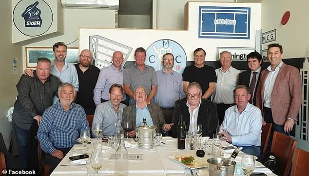A photo of Nixon (back row, fourth from left) on Facebook had earlier shown him at a birthday lunch in East Melbourne