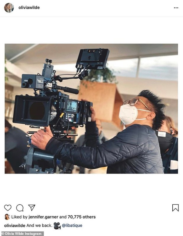 'And We Back,' Wilde captures an opening photo of his cameraman Matthew Libatik, liked by his famous friends including Jennifer Garner.
