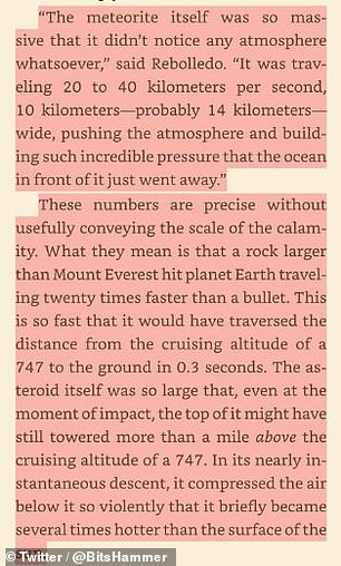 Brannon writes that the asteroid was larger than Mount Everest and hit the atmosphere 20 times faster than a rapid shot.