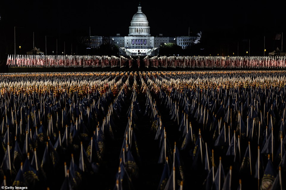 J-Lo performs National Mall set up with flags instead of people while the National Guard is in place