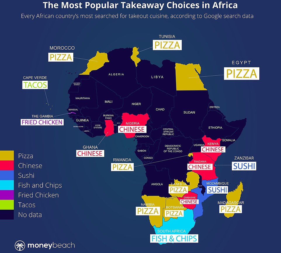 In Africa, South Africans most-searched-for takeaway is fish and chips, Egyptians can't get enough of pizza and sushi is top in Mozambique
