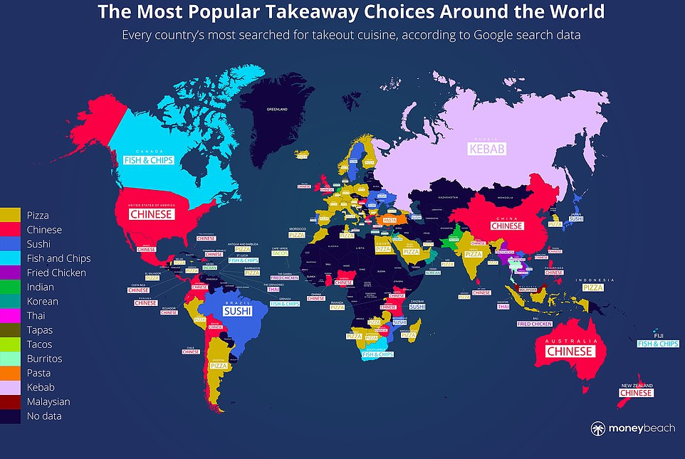A reworked world map reveals the takeaway choices that are most popular around the globe - and it's pizza - coded yellow - that's the clear favourite