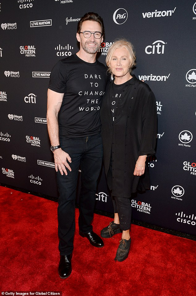 Family:Hugh is based in New York City with his wife, actress and adoption activist Deborra-Lee Furness (right)
