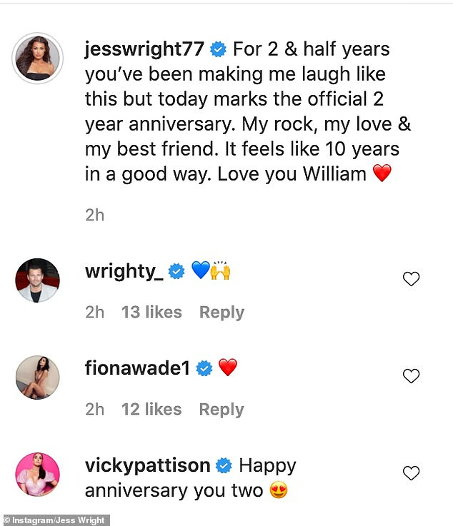 Congratulations: Many of Jess' famous pals took to the comments to congratulate the couple on their anniversary
