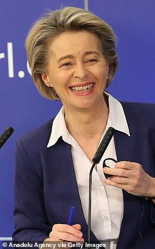 European Commission President Ursula von der Leyen speaking at a conference yesterday
