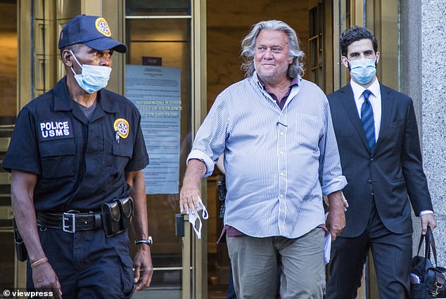 Steve Bannon, pictured leaving court in August having been charged with defrauding donors to a crowdfunding effort to build the U.S.-Mexico border wall, was also sanctioned