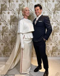 Katy Perry poses with Orlando Bloom after Biden inauguration performance