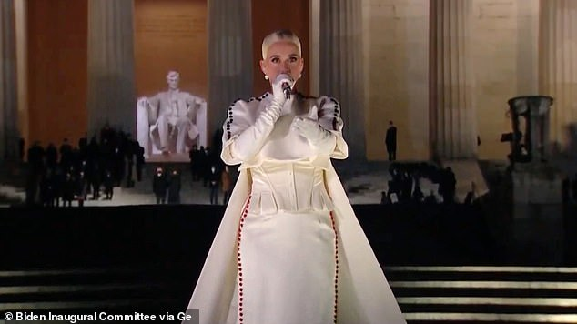 Performance: Katy was among stars such as John Legend, Demi Lovato and Bruce Springsteen welcoming the Biden administration to the White House with the inaugural concert, Celebrating America