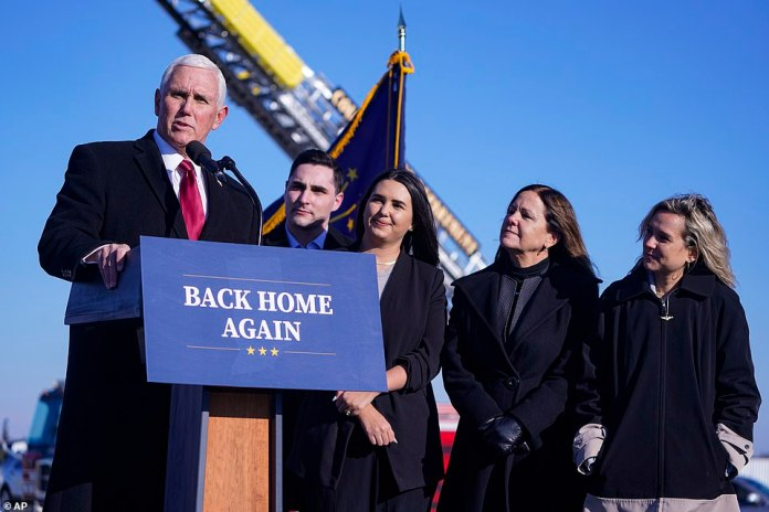 Pence's voice broke as he thanked his family for their support during his tenure as Vice President