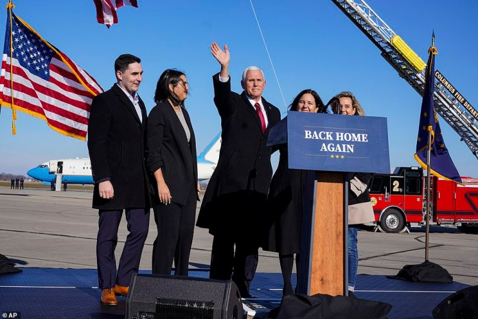 Farewell: Pence spoke to supporters and said he was 'proud' to have worked on the Trump administration's pandemic response, but also offered his congratulations to President Biden