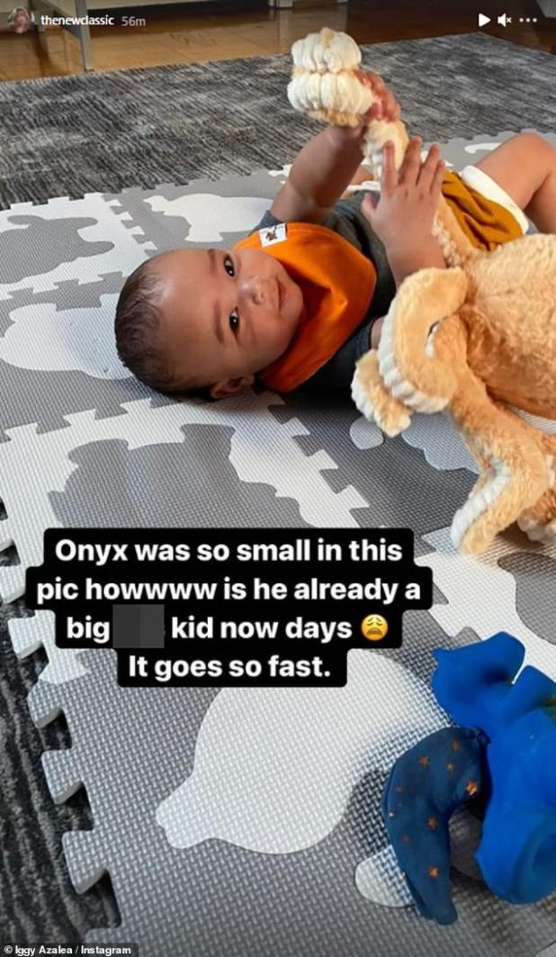 Sweet: In one photo, Iggy posted a picture of a young onyx smiling at the camera and playing with her toys where she jokingly stated that she is now a 'big * kid'.