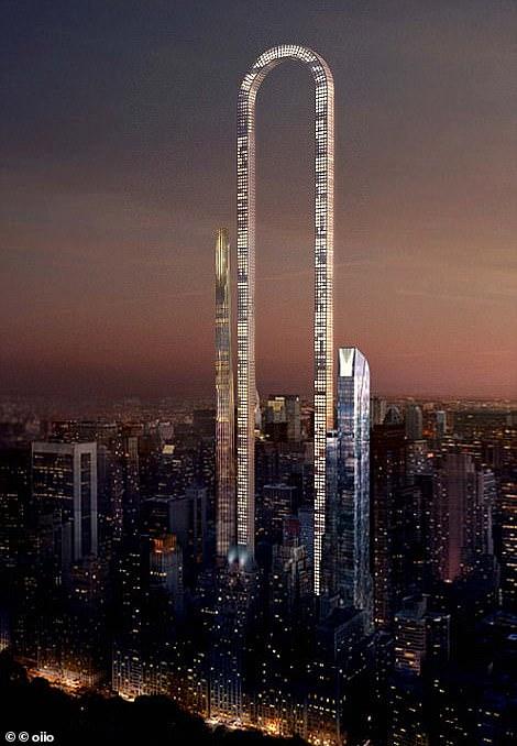 Big Bend skyscraper reaches a top then curves back down