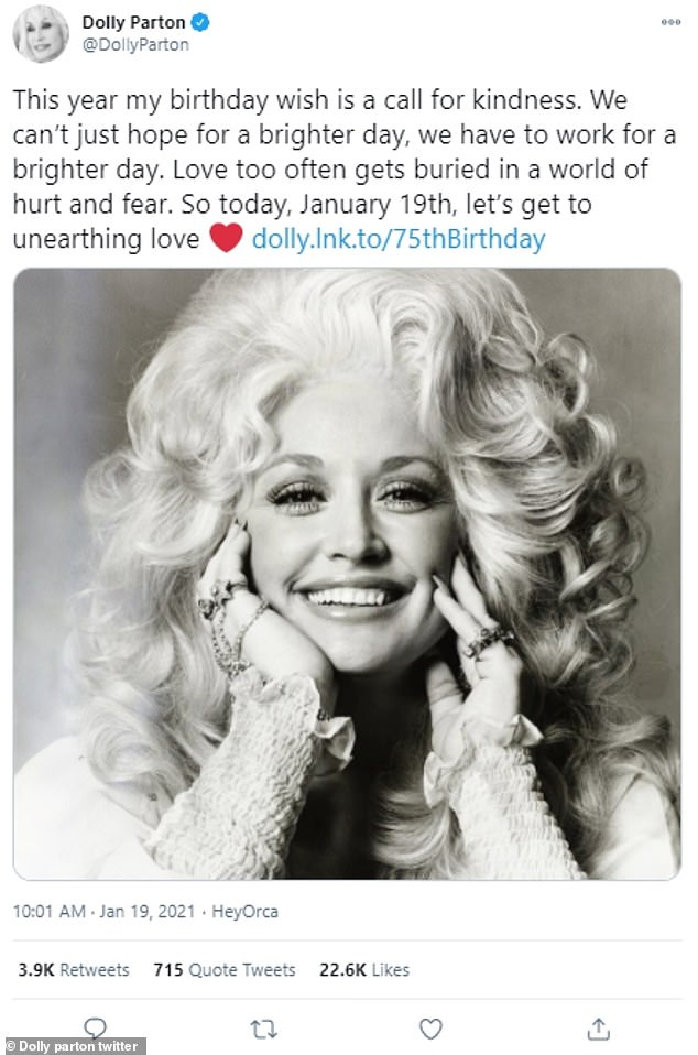 Come together:The sad news comes on the heels of Dolly's 75th birthday, which she celebrated with a hope-filled message for fans
