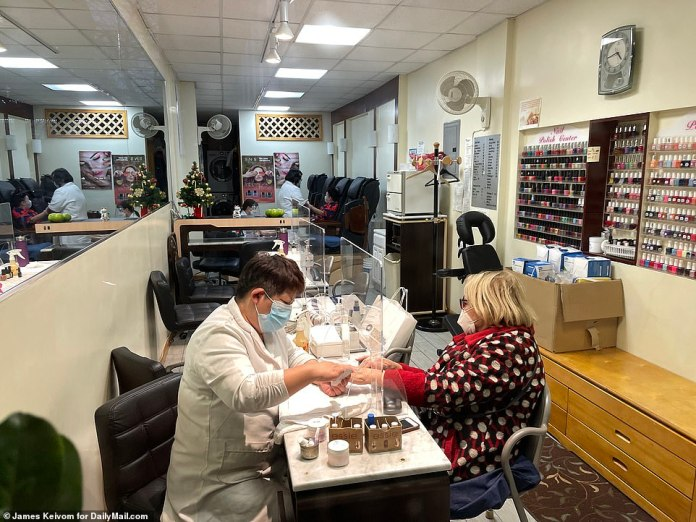 NEW YORK CITY:A nail salon in Chinatown which has also seen a drop in business due to the pandemic