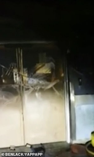 Dramatic footage filmed inside part of the hospital after the fire showed severe damage, with blackened walls visible and parts of the ceiling hanging down