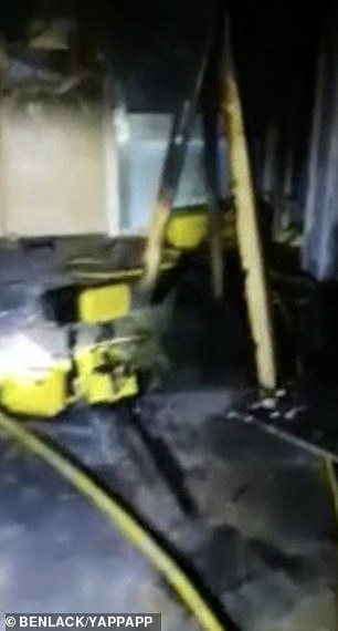 Footage filmed inside the hospital showed the damage caused by the fire