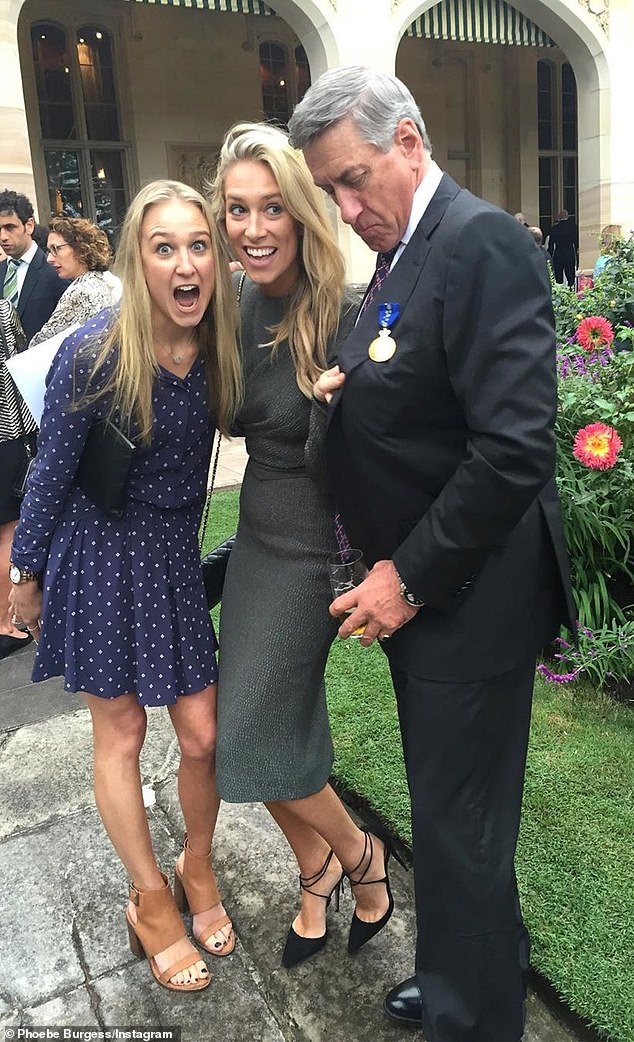 Mitchell Hooke ran the Minerals Council of Australia. He is pictured with daughters Phoebe (centre) and Harriet after being made a Member of the Order of Australia in 2016