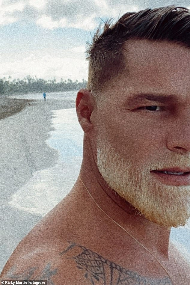 Santa vibe: Ricky Martin recently served Santa on vacation, as he debuted with his freshly bleached beard, sharing a selfie on the beach with his 14.9 million Instagram followers