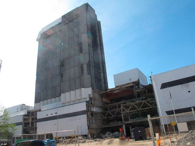 This photo, taken last October, shows the partially demolished Trump Plaza casino. The remainder of the structure will be blown up on February 17