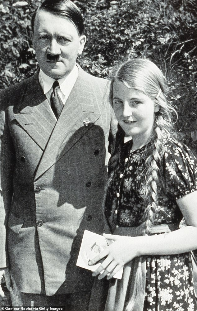 The organisation Silent Assistance was set up to help Nazis and neo-Nazis and the members included Gudrun Burwitz, the daughter of SS chief Heinrich Himmler (pictured with Adolf Hitler)
