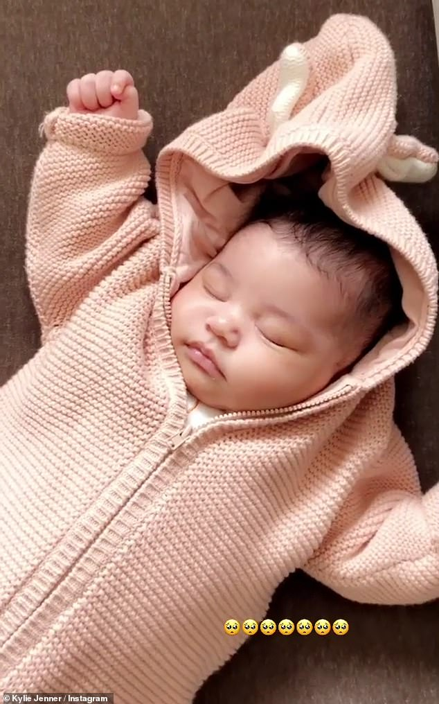 Finally: Kylie shared a brief video clip of Stormi alone, from when she was newborn