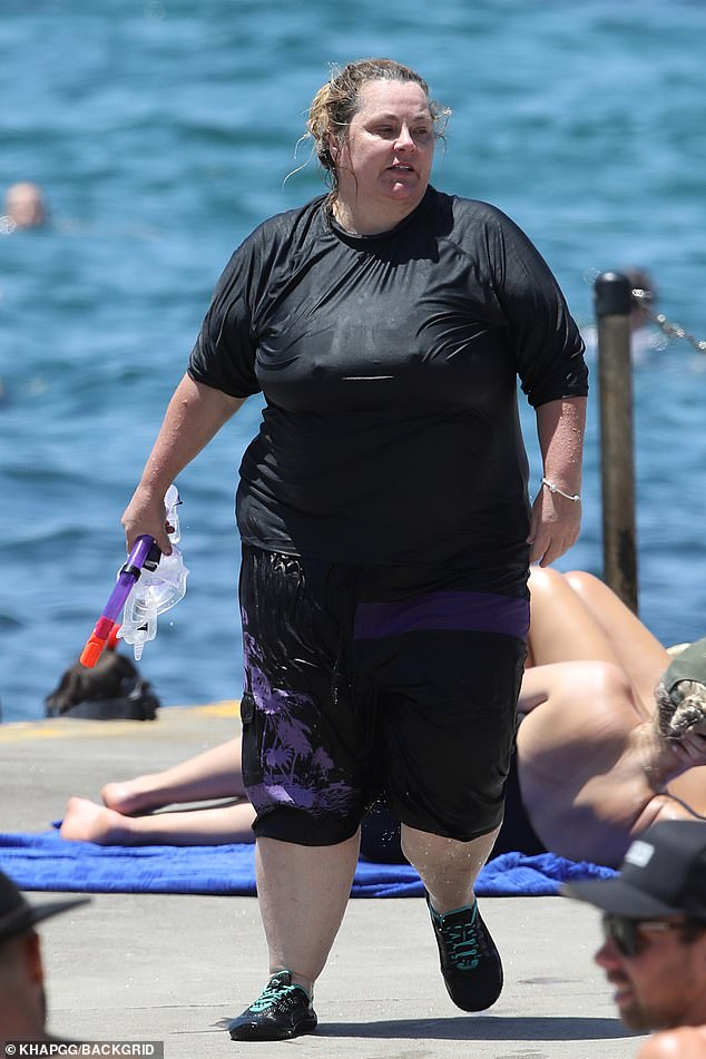 Beach life!  Ajay Rochester, 51, (pictured) tried his hand at snorkelling on a Sydney beach trip on Saturday