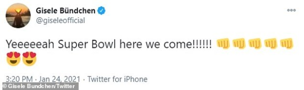 The Buckeyes beat the Green Bay Packers 31–26, with Gisele winningly tweeting: 'Yeehe Super Bowl here we come!'