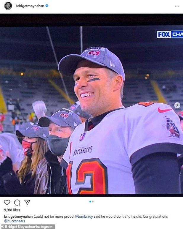Surprisingly, Brady's ex-girlfriend Bridget Monahan also 'congratulated' her on Instagram: 'Nothing could be more proud @tombrady said she would do it and she did'