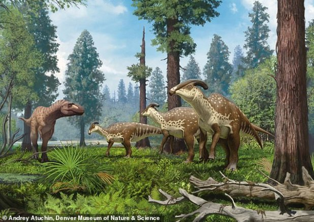 Life of a Parasrolophus group reconstructed by a persecutor in the subtropical forests of New Mexico 75 million years ago