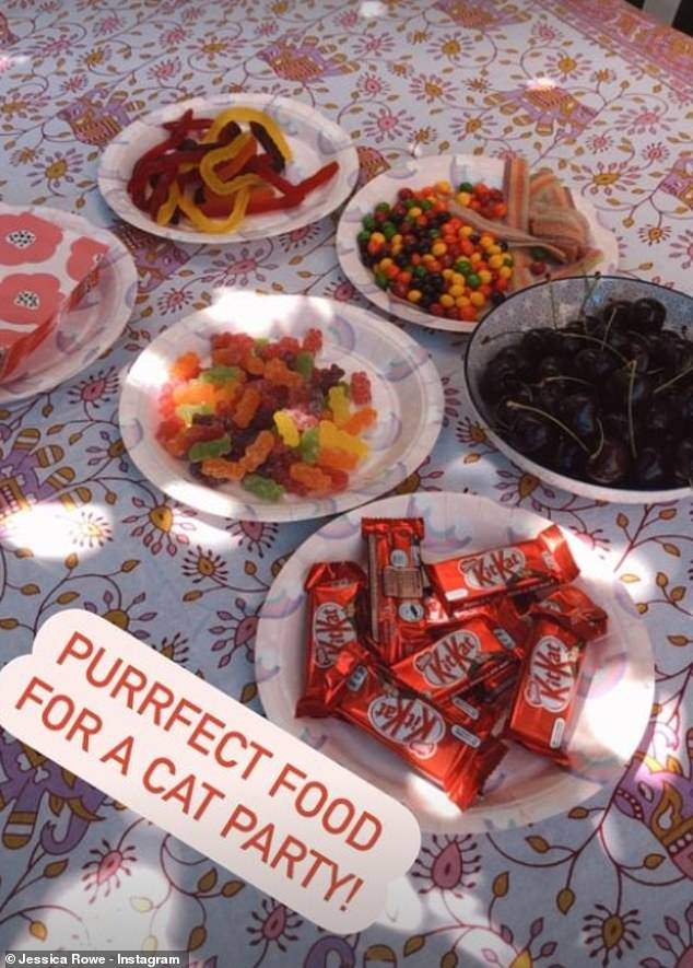 Party time: There were some goodies for humans too, with Jessica sharing a photo of a table covered in snacks such as gummy lollipops, cherries and chocolate