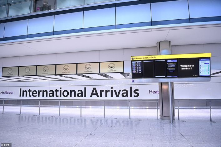 Terminal 5 at Heathrow was quiet today but thousands of people every day will be expected to head into quarantine for ten days
