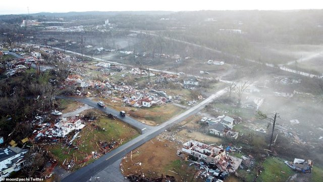 Aerial photos show the destruction from a deadly Alabama tornado that leveled homes on Monday
