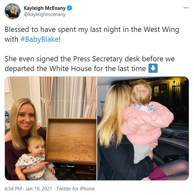 Kayleigh McEnany posted to her private Twitter account her final updates about her work from the White House