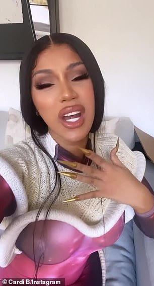 Disturbing place: Grammy-winning rapper Cardi B took to Twitter on Monday to help her get her pimples on her cheeks and chin (last Friday's photo)