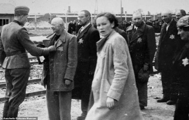 A Jewish woman wearing a long coat looks over her shoulder as Jewish men await selection after arriving at Auschwitz-Birkenau. One man is seen standing as an SS guard holds the lapel of his coat. Behind him, four other men wait to be inspected by the guard